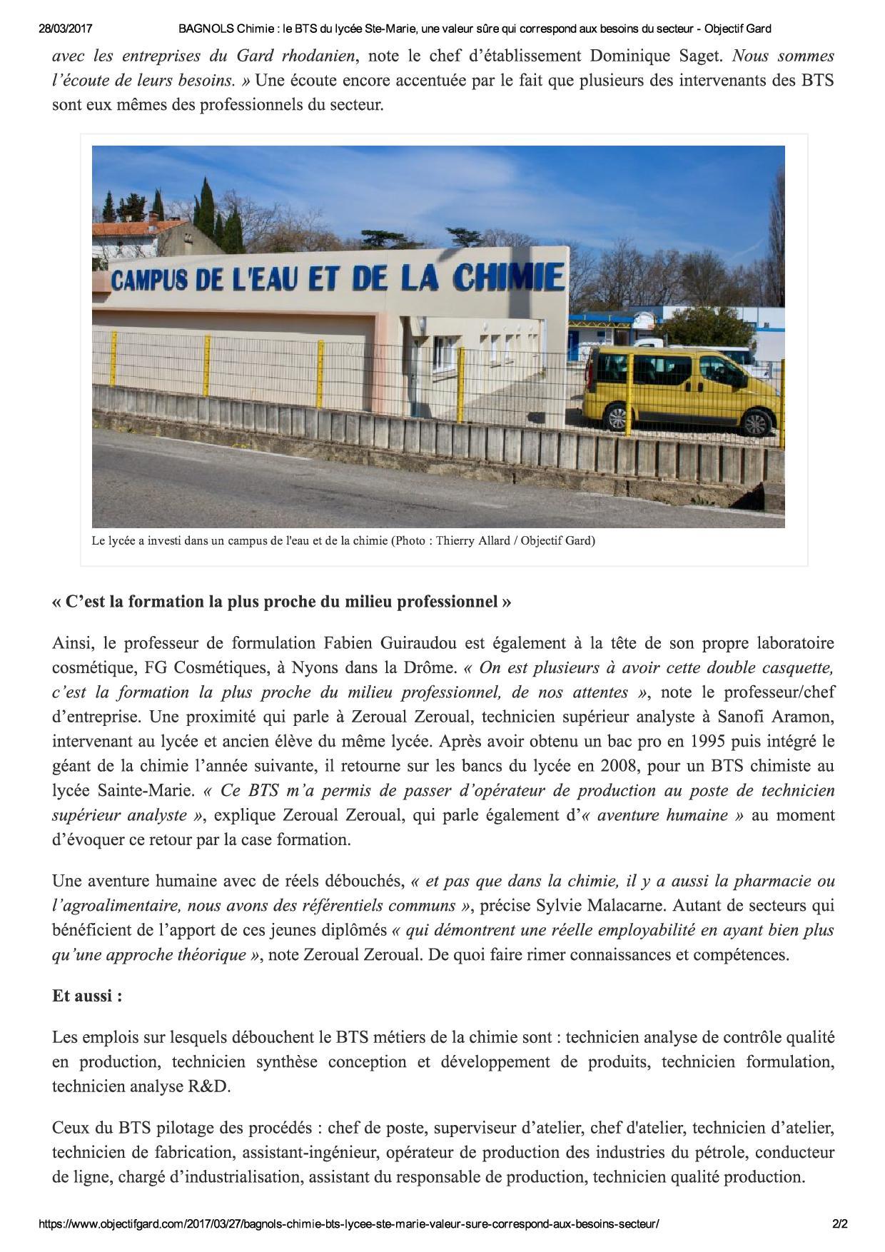 BAGNOLS Chimie _ le BTS du lycée Ste-Ma...aux besoins du secteur - Objectif Gard2
