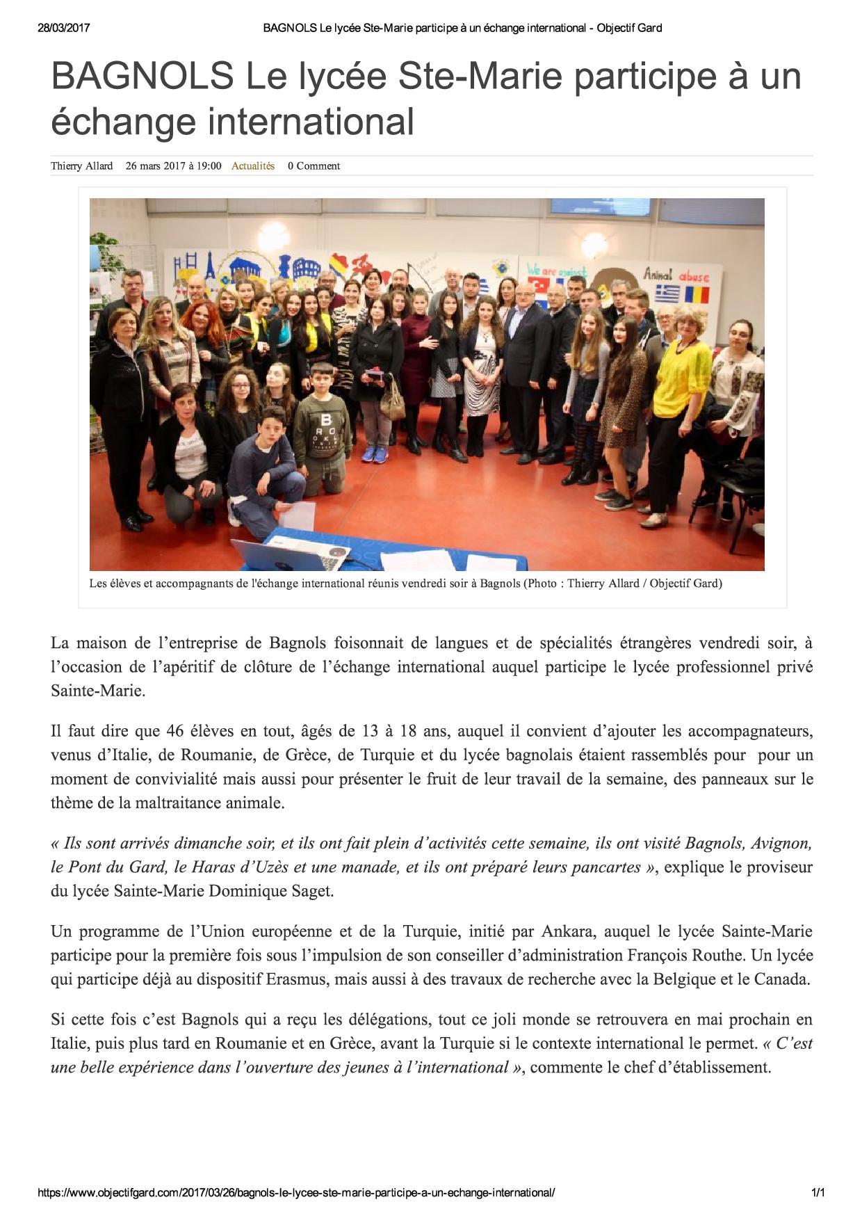 BAGNOLS Le lycée Ste-Marie participe à un échange international - Objectif Gard