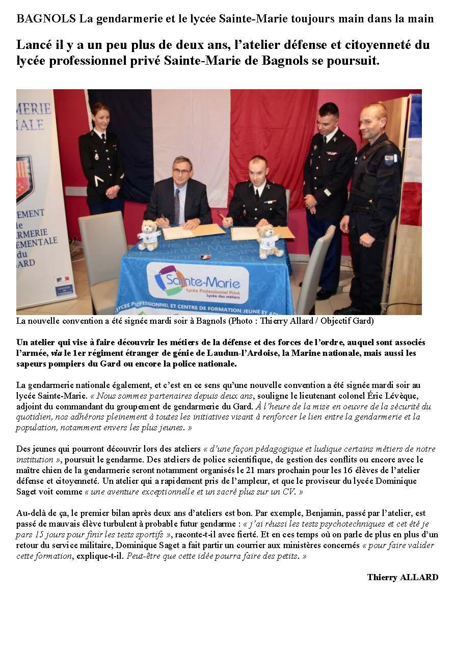 BAGNOLS La gendarmerie et le lycée Sainte-Marie toujours main dans la main - Objectif Gard