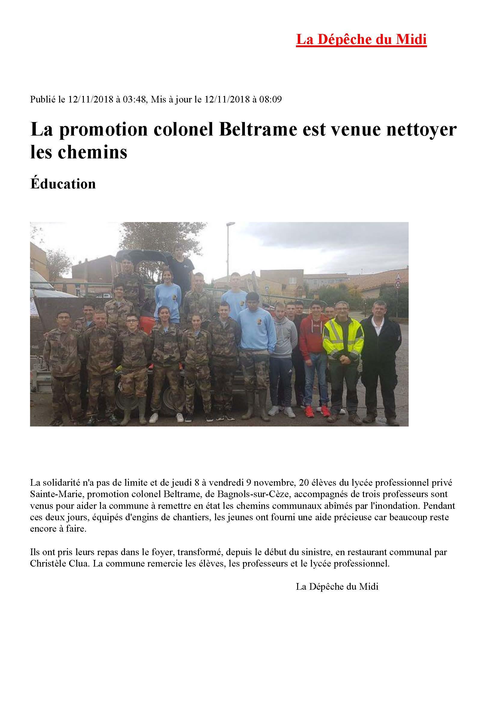 Article de presse aide aux sinistrés La Dépêche du Midi